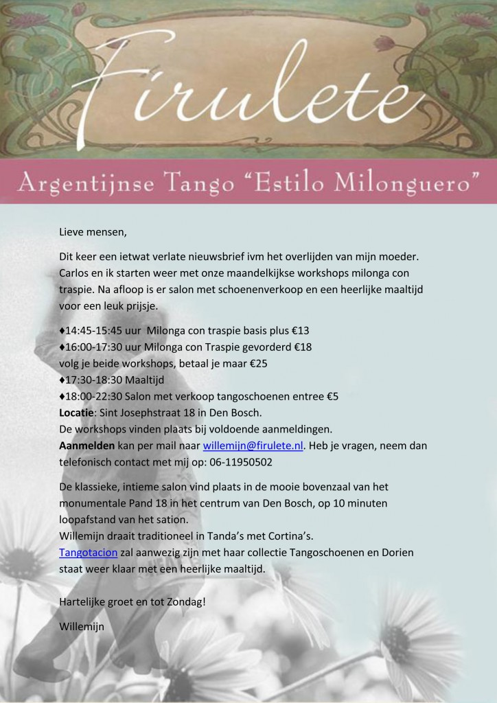 workshops milonga en salon met schoenenverkoop zondag 19 oktober